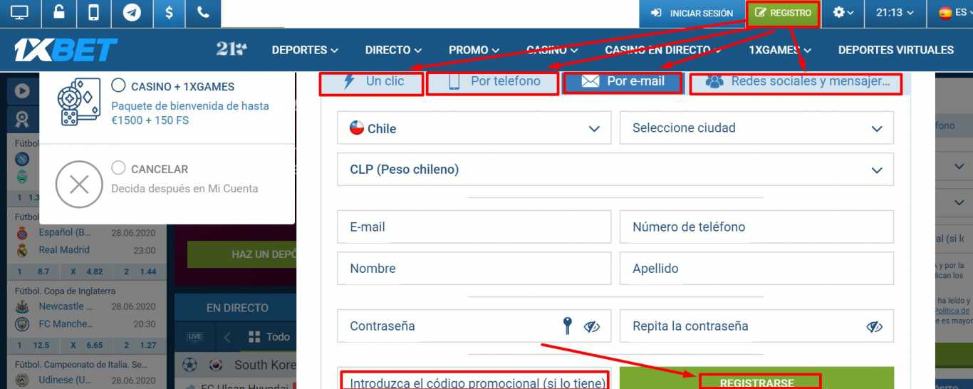 Etapas de 1xBet Chile register